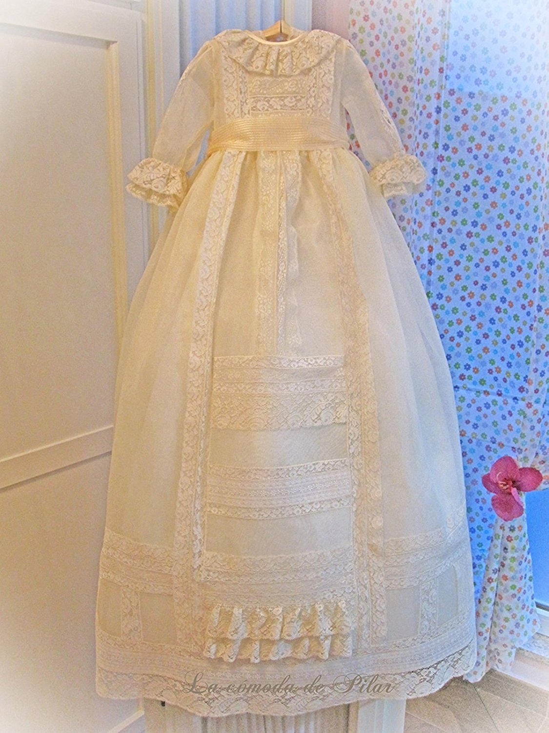 Banfvting Lace Long Baby Girls Dress Christening Gowns With Sleeves by Banfvting (Image #2)