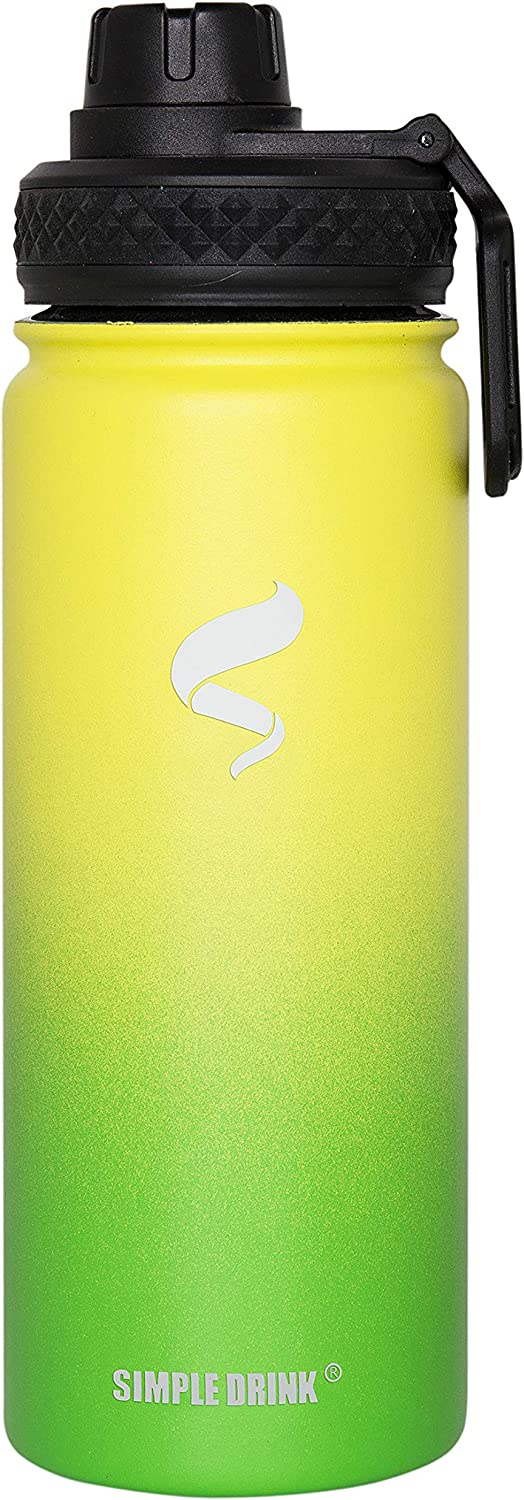 SIMPLE DRINK Insulated Stainless Steel Water Bottle, Double-Wall Hydration Flask with Spout Lid, 18oz, 30oz, 100% Leak Proof
