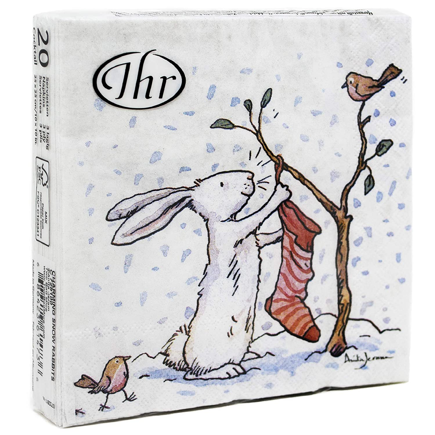 IHR Charming Snow Rabbits And Robins Christmas Lunch 3 Ply Table Paper Napkins