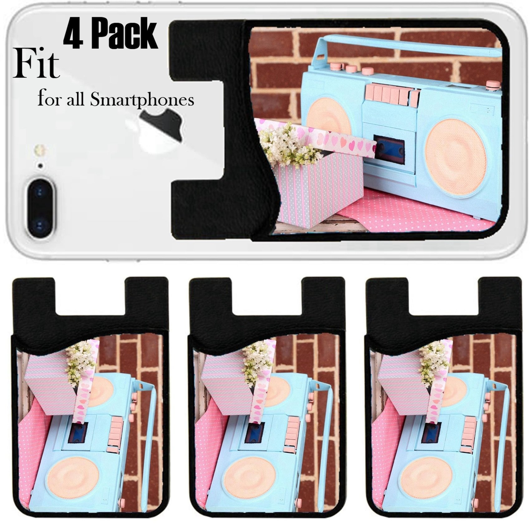 Liili Phone Card holder sleeve/wallet for iPhone Samsung Android and all smartphones with removable microfiber screen cleaner Silicone card Caddy(4 Pack) Still life with colorful retro radio on brick