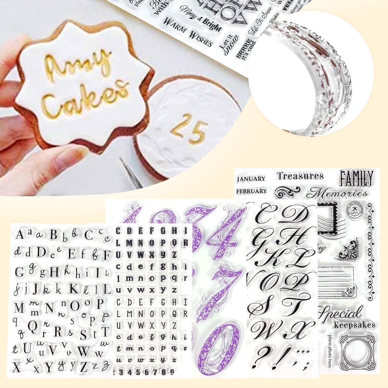 Alpurple 5 PCS Fondant Cake Stamp Mold-Reusable Food-grade DIY Alphabet Cookie Stamp Cutter Fondant Mould Ideal for Fondants,Cakes,Cookies, Card Making Decoration and DIY Scrapbooking (A set)