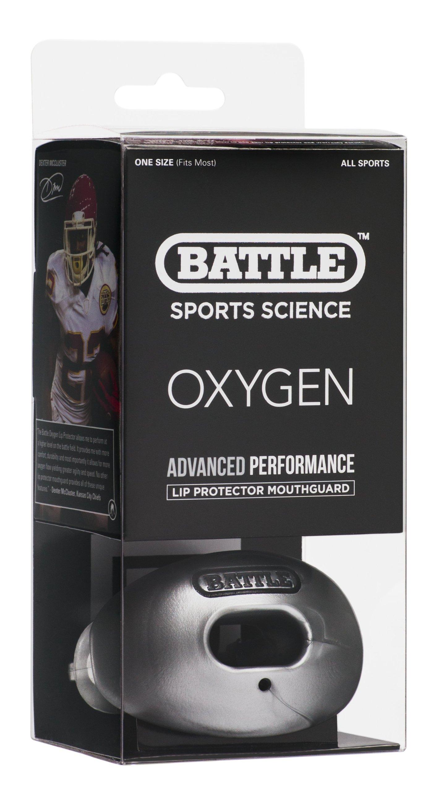 Battle Oxygen Lip Protector Mouthguard, Silver by Battle