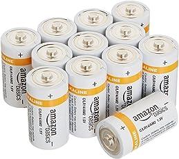 AmazonBasics Baterías alcalinas C Cell, paquete de 12