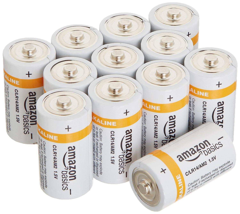 AmazonBasics C Cell Everyday 1.2V Alkaline Batteries (12-Pack)