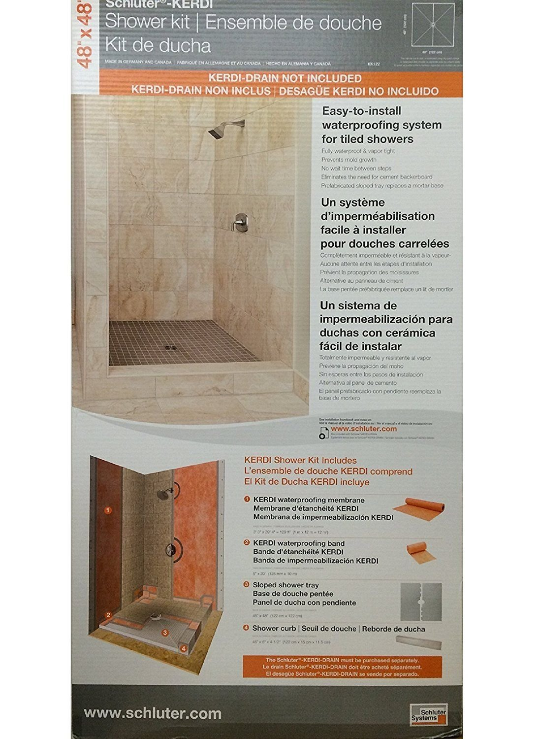 center stainless schluter s p shower kit drain kerdi off steel pvc x ebay