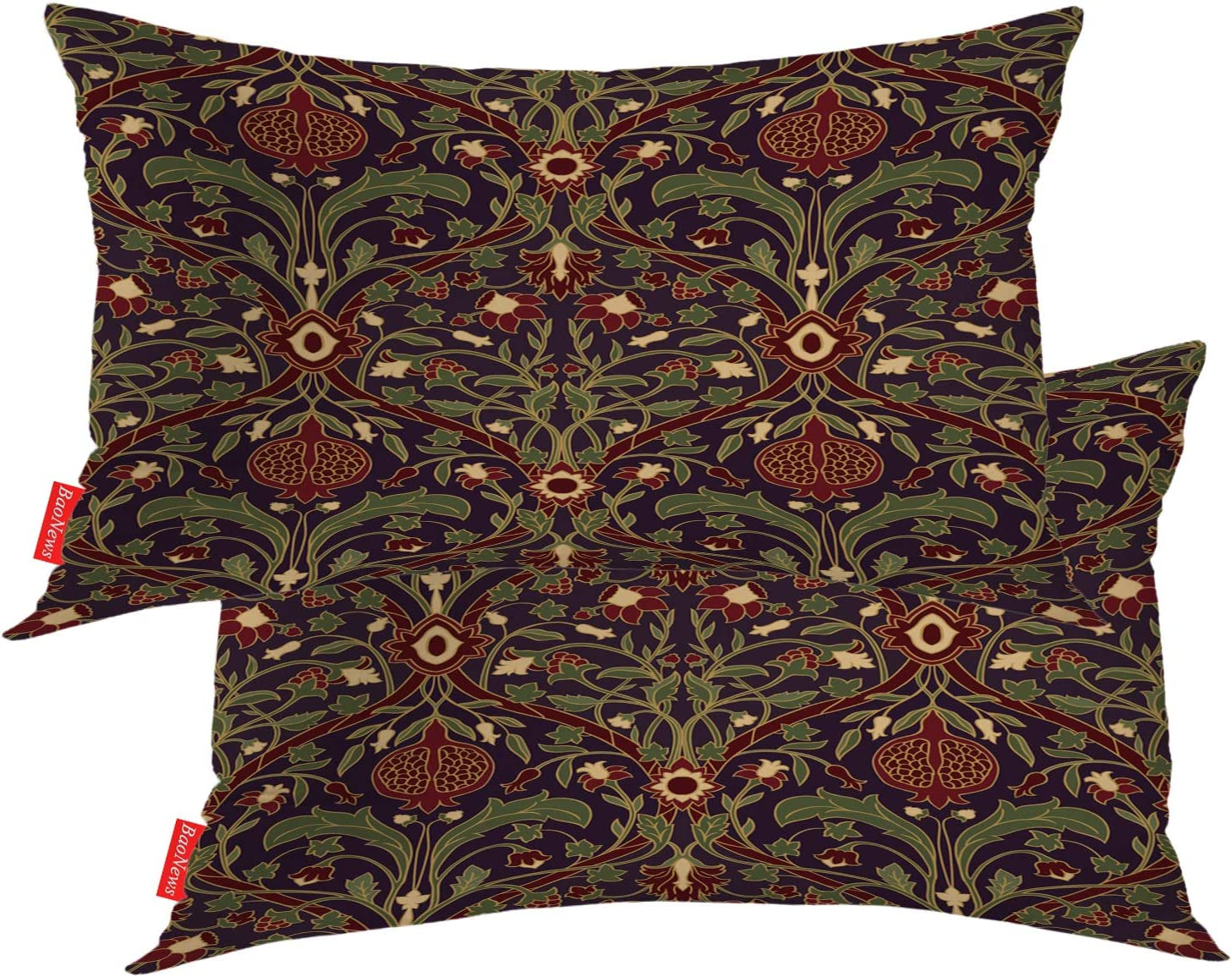 BaoNews Floral Pillow Covers, Vintage Persian Tapestry Design Print Lumbar 12 x 20 Inches Decorative Throw Pillow Covers Cotton Cushion for Sofa Bedroom Car, Burgundy Garnet, Set of 2