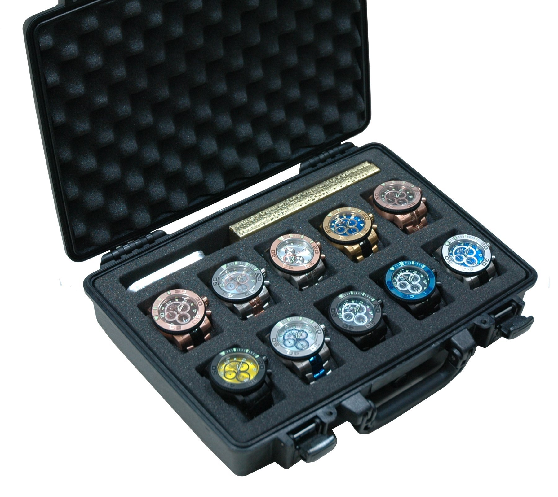 Case Club Waterproof 10 Watch Travel Case with Accessory Pocket by Case Club