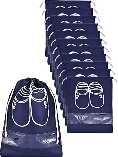 Chengu 12 Pieces 2 Sizes Shoes Bag Shoe Organizer Bag Storage Dust-proof Shoe Bags with Drawstring for Women and Men Navy Blue