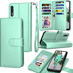 Galaxy A50 Case, Galaxy A50 Wallet Case, Luxury Cash Credit Card Slots Holder Carrying Folio Flip PU Leather Cover [Detachable Magnetic Hard Case] & Kickstand Compatible Samsung Galaxy A50 [Turquoise]
