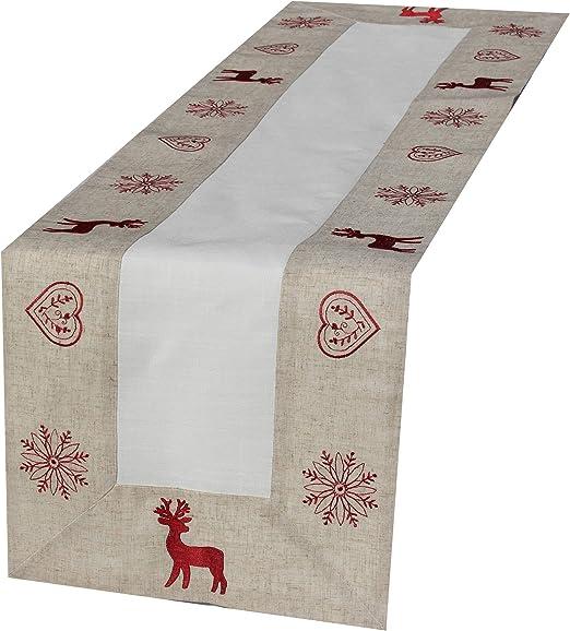 Camino de mesa – ciervo – Beige y blanco rojo bordado bonita ...