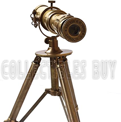 """Telescopio de latón de tamaño completo en un soporte trípode de madera acabado níquel 39/"""" longitud del tubo"""