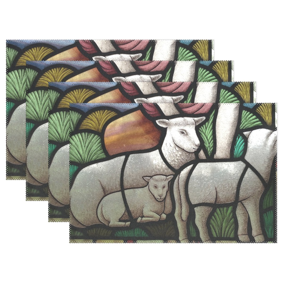 ENEVOTX Stained Glass Lamb Christian Church Window Sheep Placemats Set Of 4 Heat Insulation Stain Resistant For Dining Table Durable Non-slip Kitchen Table Place Mats