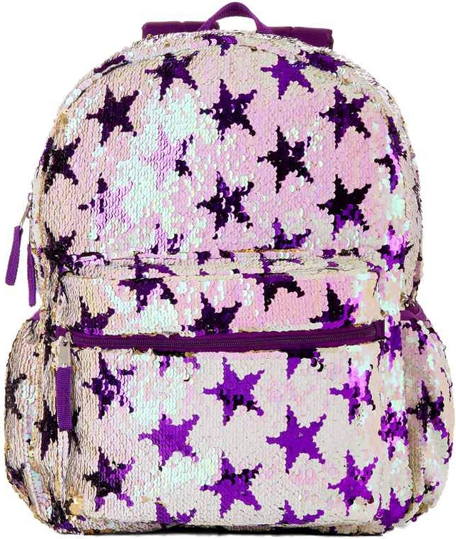 "Double Dutch Club Sequin Stars 16/"" Girl/'s Backpack Book School Bag Black Pink"