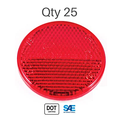 "[All Star Truck Parts] [Qty 25] [Red/Amber] 2"" Inch Round Reflector Bike,Trailer, Truck, Boat, Mailbox, Construction, Equipment, RV, Camper with Super Strong Adhesive DOT/SAE Approved (Red): Automotive"