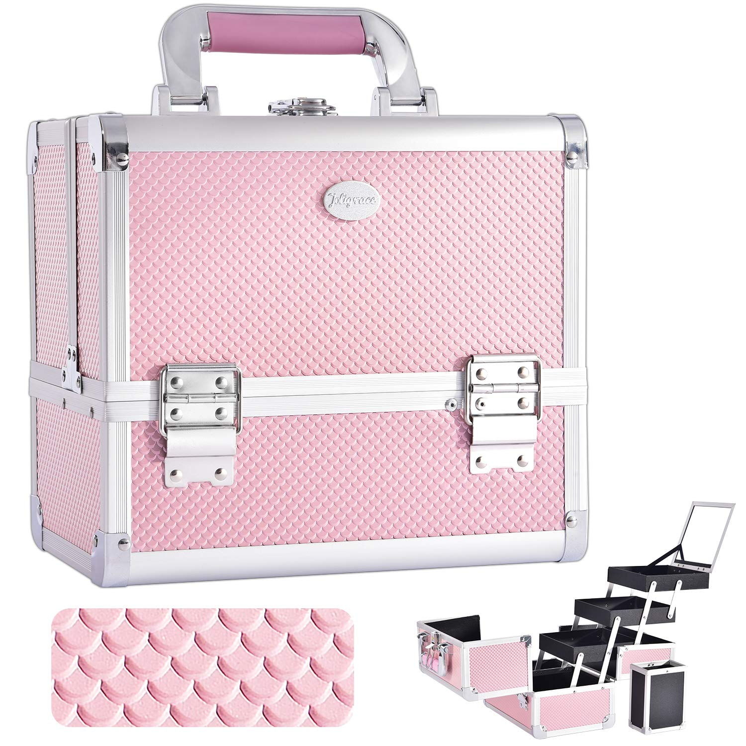 Joligrace Makeup Train Case Cosmetic Box 10 Inches Jewelry Organizer Professional 3 Tiers Trays with Mirror and Brush Holder Lockable Key Portable Travel Mermaid Pink by Joligrace