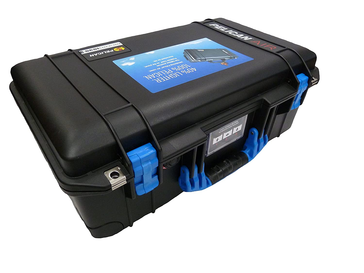 Black Pelican 1525 Air case with Blue Handle & latches. With Foam.