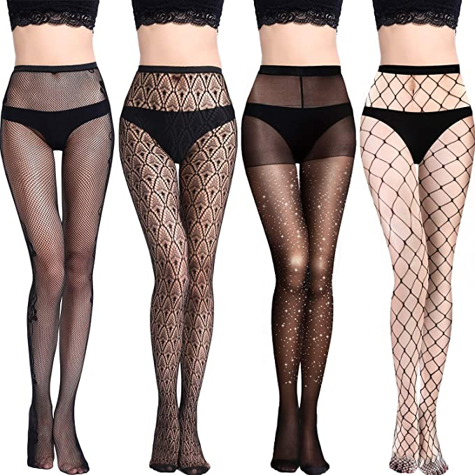 Black Fishnet Hold-up Stockings with White Floral Lace Tops