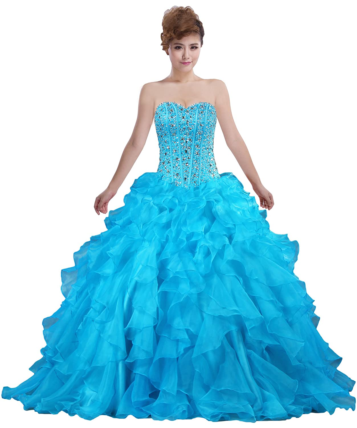 Amazon.com: ANTS Women\'s Sweetheart Ball Gown Prom Dresses Formal ...
