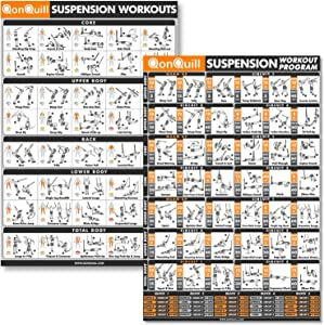QonQuill 2 Pack - Suspension Exercise Poster + Suspension Workout Program Poster - Bodyweight Fitness Workout Routine Laminated Exercise Charts for Resistance Training Straps - Full Body Workout Poste