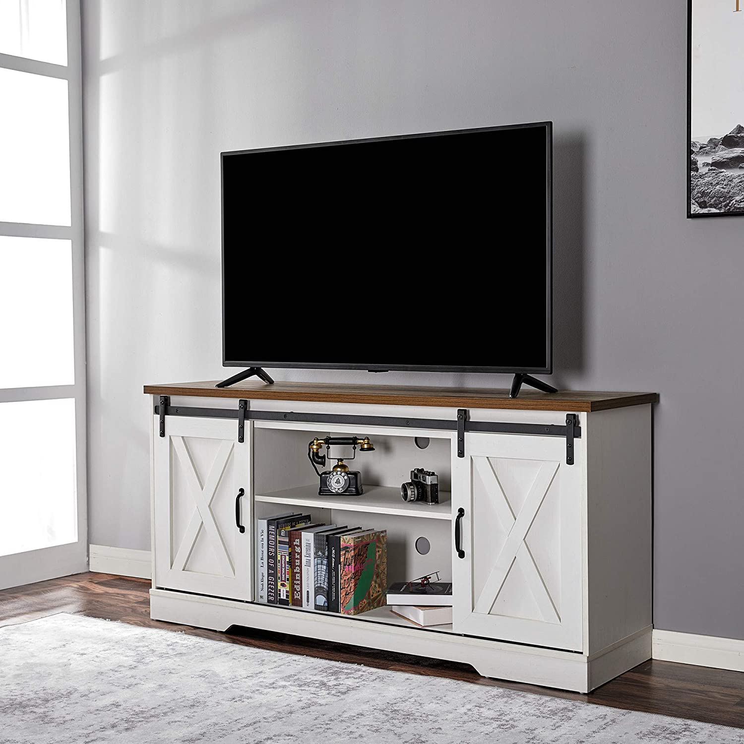 Amerlife TV Stand Sliding Barn Door Modern&Farmhouse Wood Entertainment Center, Storage Cabinet Table Living Room with Adjustable Shelves for TVs Up to 65