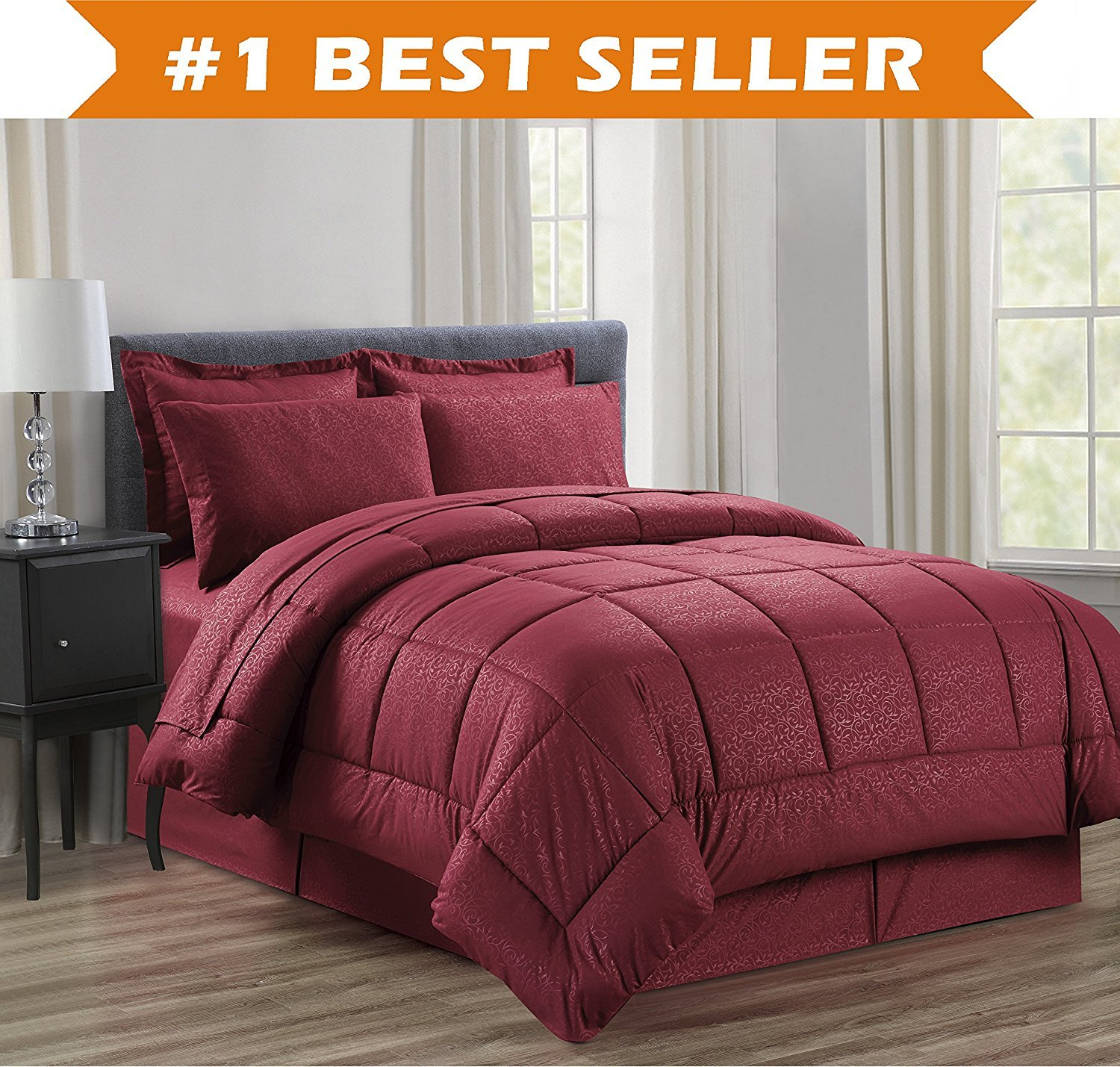 8-Piece Comforter Set -HypoAllergenic- Full/Queen, Burgundy