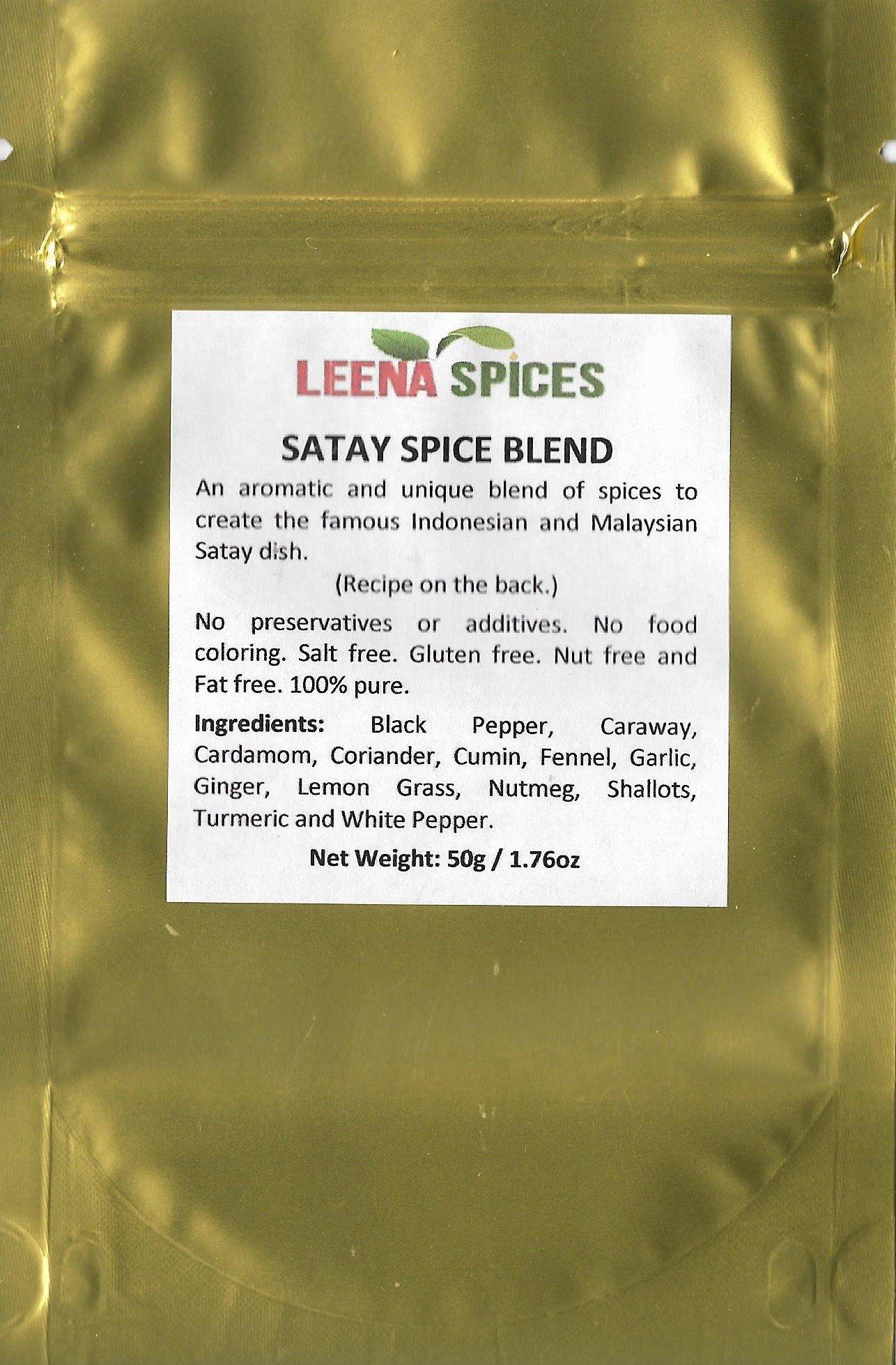 LEENA SPICES – Satay Seasoning Mix – Gluten Free Spice Powder Marinade – With Chicken Recipe – No Color Or Salt - Enjoy Quality Thai Food.