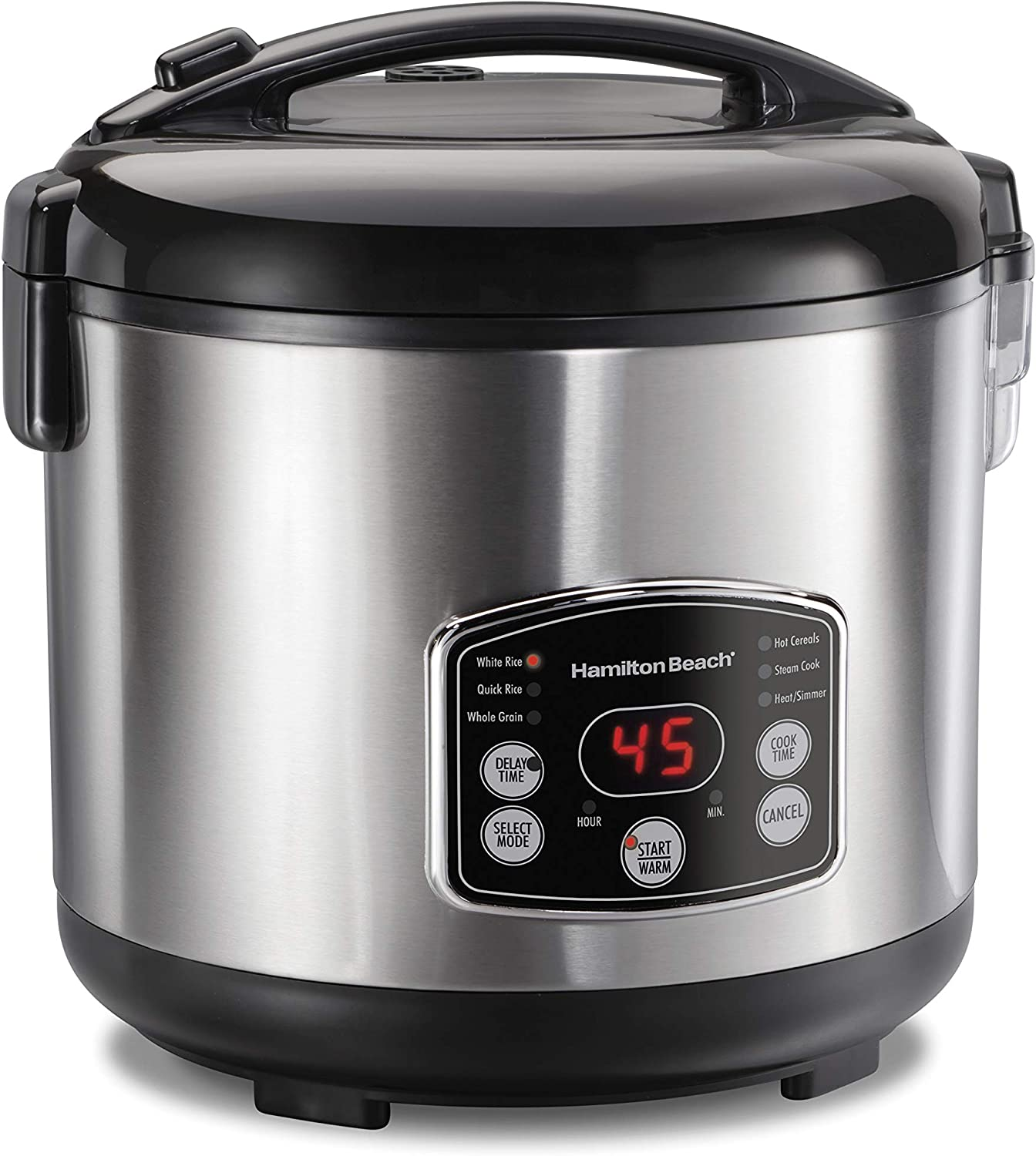 Hamilton Beach Digital Programmable Rice Cooker & Food Steamer, 14 Cups Cooked (7 Uncooked) With Steam & Rinse Basket, Stainless Steel (37548)