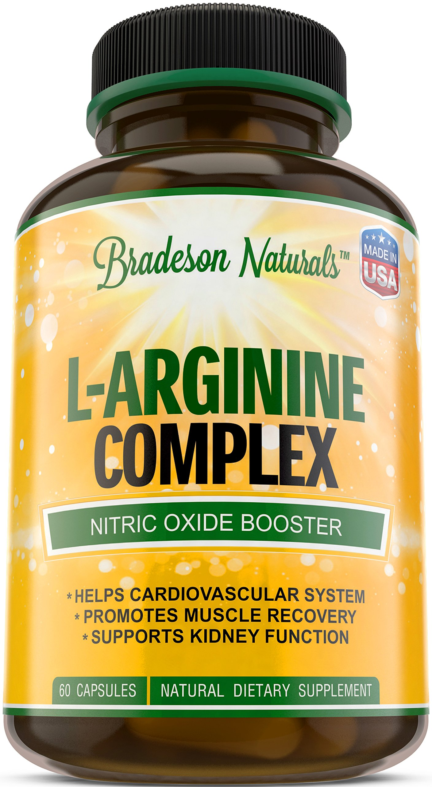 L-Arginine & L-Citrulline Supplement. Nitric Oxide Booster. Speeds up Workout Recovery. Vital & Natural Amino Acid. Supports Cardiovascular Health & Regulates Blood Pressure. Made in USA.