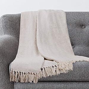 Americanflat Zaina Cream Herringbone Cotton Blanket Throw with Fringe - 50x60 Inches