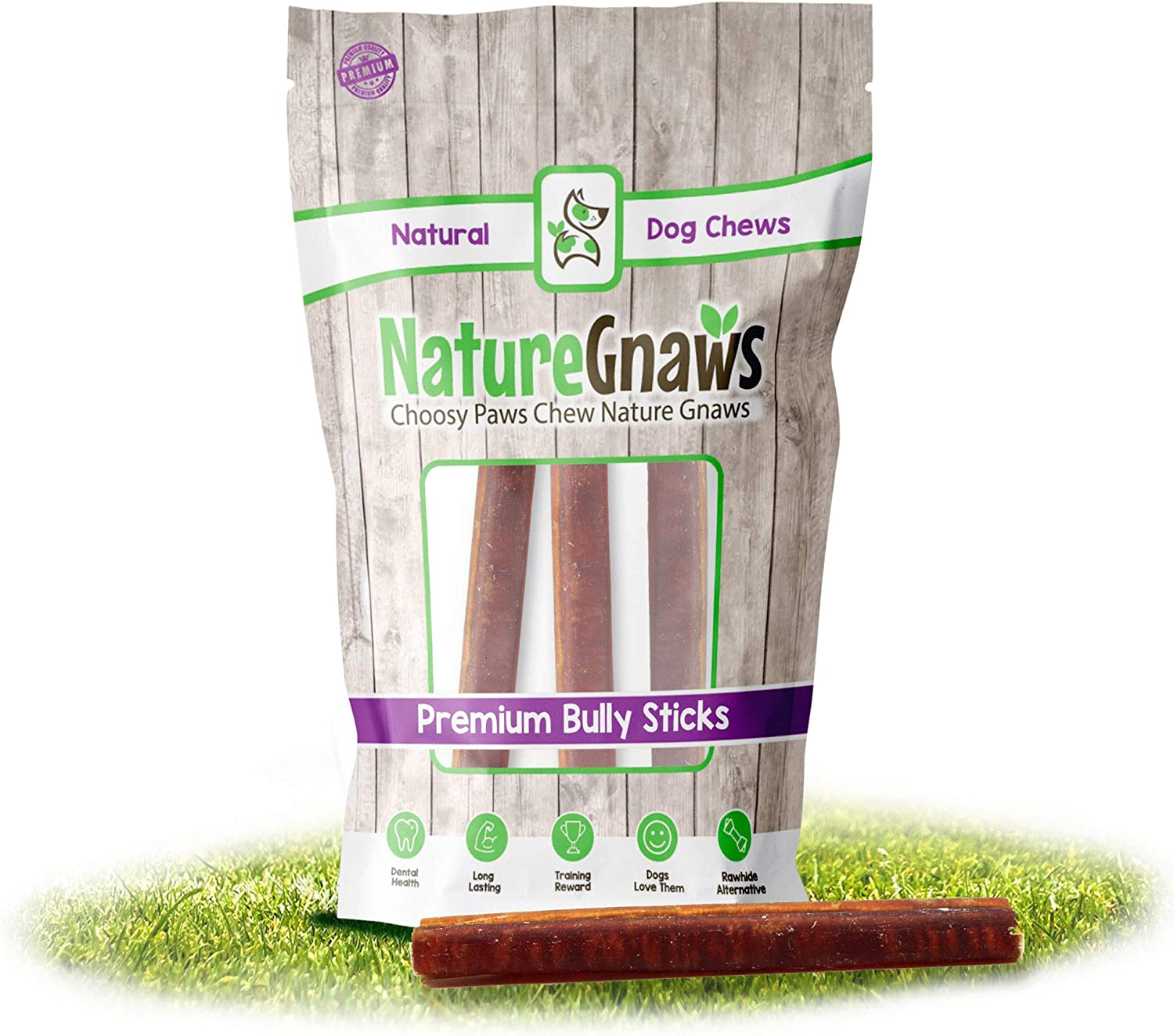 Nature Gnaws Bully Sticks for Large Dogs - Premium Natural Beef Bones - Thick Long Lasting Dog Chew Treats for Aggressive Chewers - Rawhide Free - 6 Inch