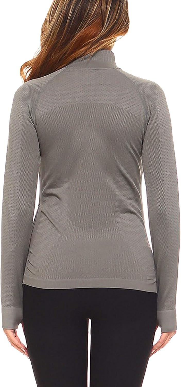 KOOLDO Womens Comfortable Zip Up Neckline Long Sleeve Workout Pullover Top