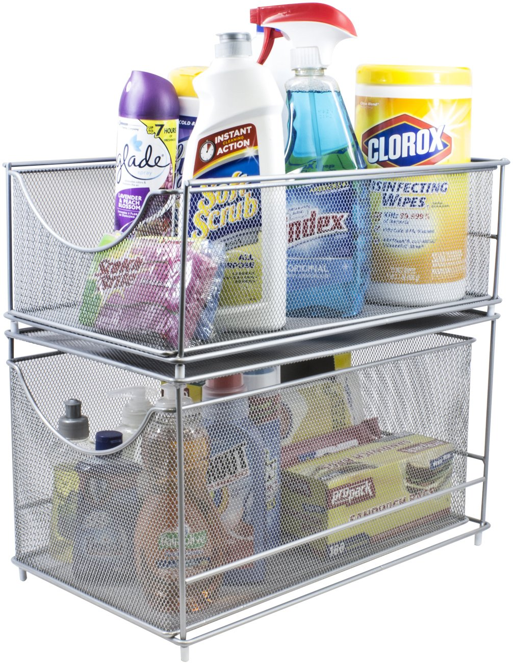 Sorbus Cabinet Organizer Set —Mesh Storage Organizer with Pull Out Drawers—Ideal for Countertop, Cabinet, Pantry, Under the Sink, Desktop and More (Silver Two-Piece Set)