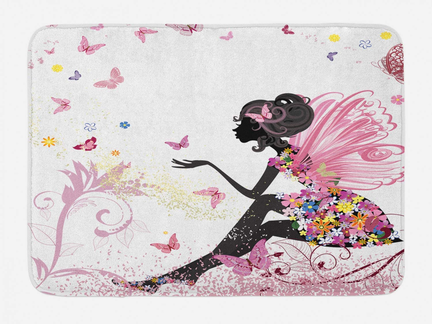 Ambesonne Fantasy Bath Mat, Fairy Girl with Wings in a Floral Dress Fantasy Garden Flying Butterflies, Plush Bathroom Decor Mat with Non Slip Backing, 29.5