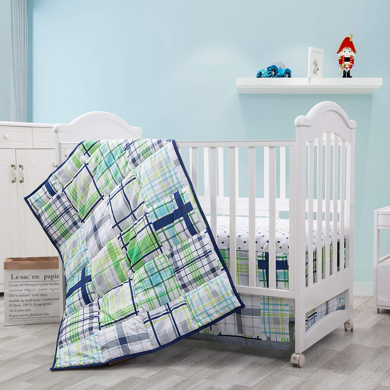 Little Grape Land 3-Piece Nursery Crib Bedding Sets, Soft Polyester Microfiber for Standard Size Crib Bedding Sets for Boys Green/Navy/Grey/White (Green Plaid)