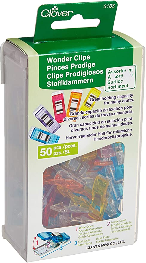 Clover 3183 Wonder Clips 50 Piece Assorted Colors NEW