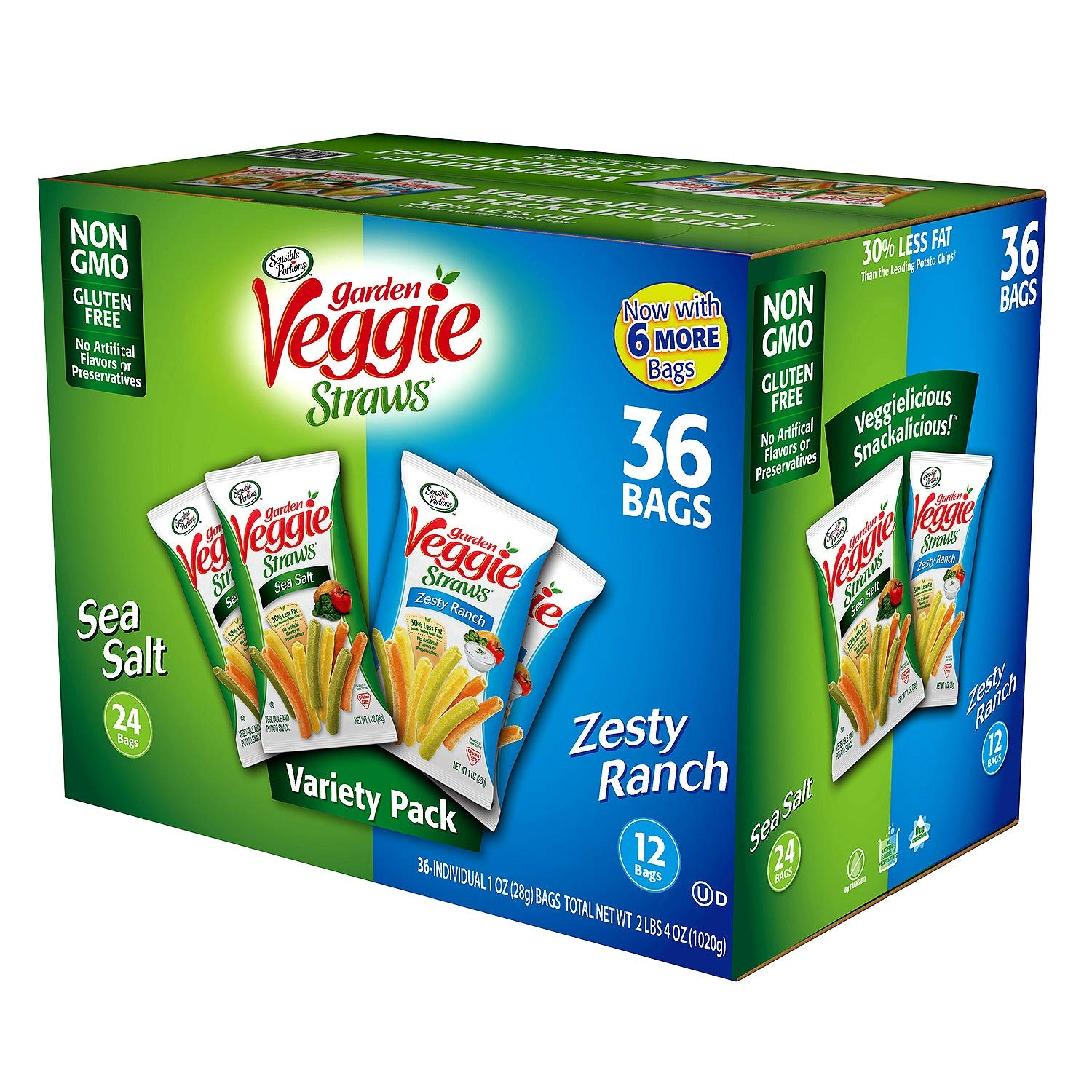 Sensible Portions Garden Veggie Straws, Variety Pack, 24 Pack Sea Salt, 12 Pack Zesty Ranch, Total 36 Count (Pack of 3)