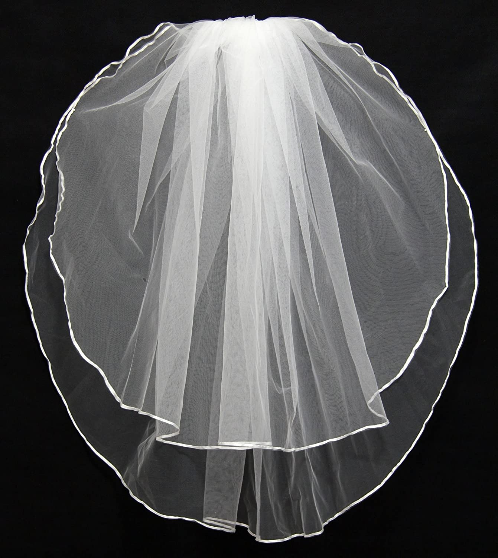 KAY/&LAYLA 2T 2 Tiers Wedding Veils Bridal Veil 1//4 Ribbon Edge with Comb