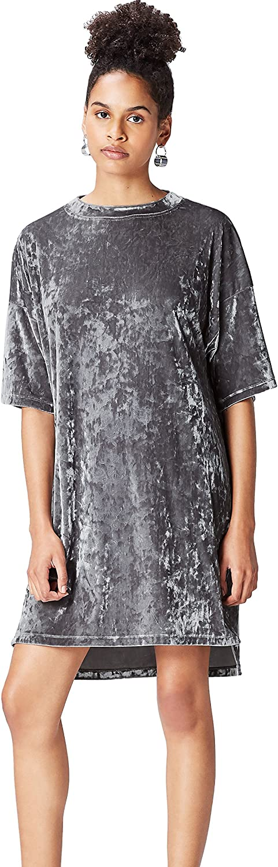 TALLA 38 (Talla del Fabricante: Small). find. Vestido Estilo Camiseta de Terciopelo Mujer Plateado (Silver) 38 (Talla del fabricante: Small)