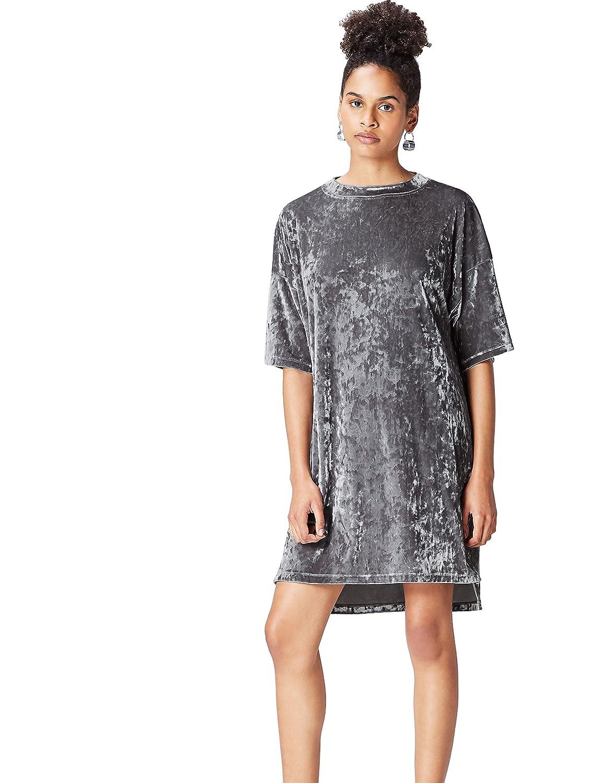 TALLA 42 (Talla del Fabricante: Large). Marca Amazon - find. Vestido Estilo Camiseta de Terciopelo Mujer Plateado (Silver) 42 (Talla del fabricante: Large)