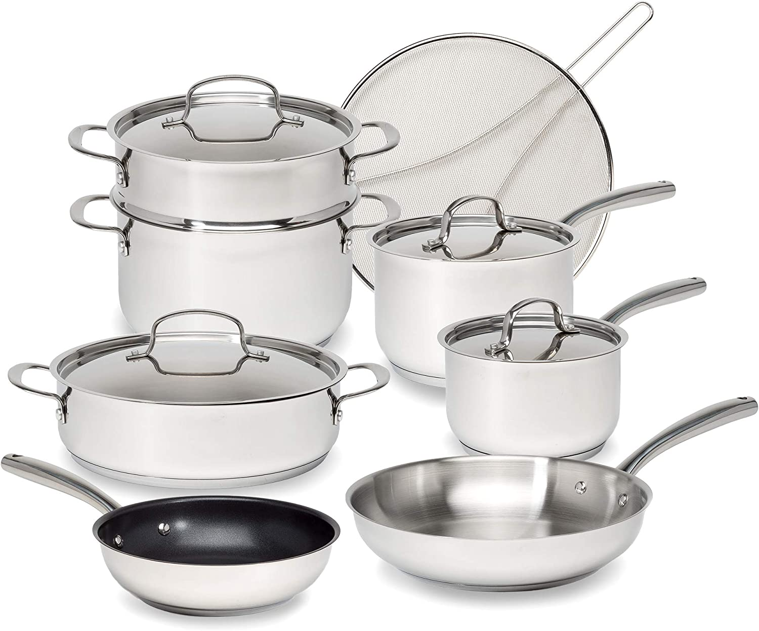 Goodful Classic Stainless Steel Cookware Set with Tri-Ply Base, Impact Bonded Pots and Pans, Dishwasher Safe, 12-Piece
