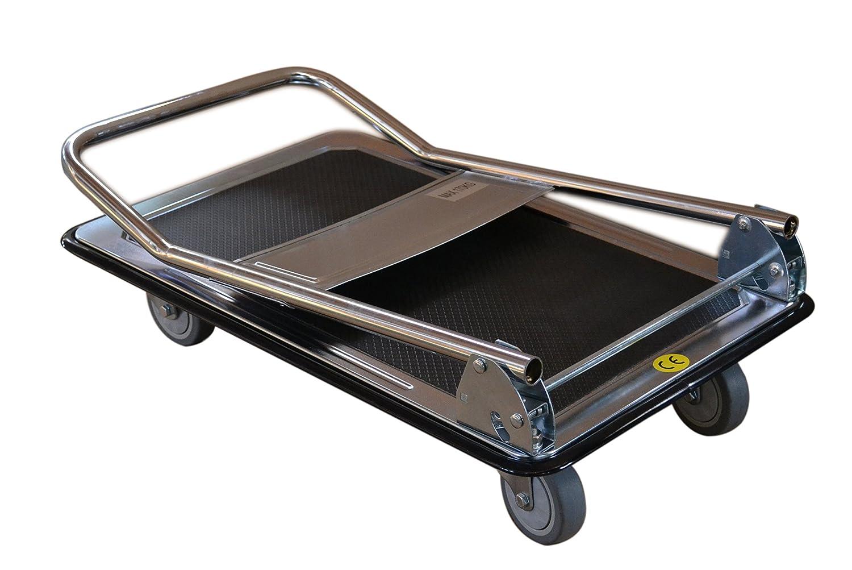 T-EQUIP PP-170 Carrello a piattaforma zincato a caldo portata: 170 kg cromato//blu LxPxH: 740 mm x 480 mm x 920 mm