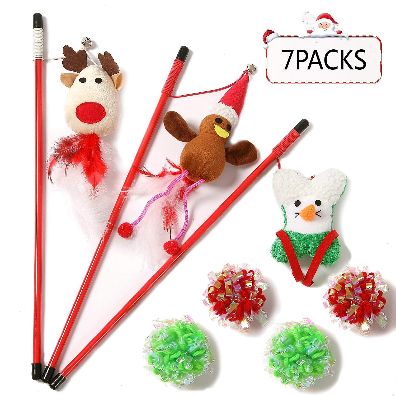 クリスマス 3匹の猫の杖 羽根 ティーザー おもちゃ リボン、ベル、ゴムロープ、マイラークリンクルロープボール4個、7パックのおもちゃセット、スタイリング:クリスマストナカイ、サンタクロース、クリスマスツリー、子猫へのギフトに   B07FNHFN4S