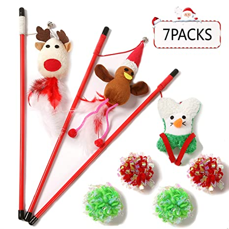 Amazon.com: 3 bandas de Navidad para gatos, juguetes de ...