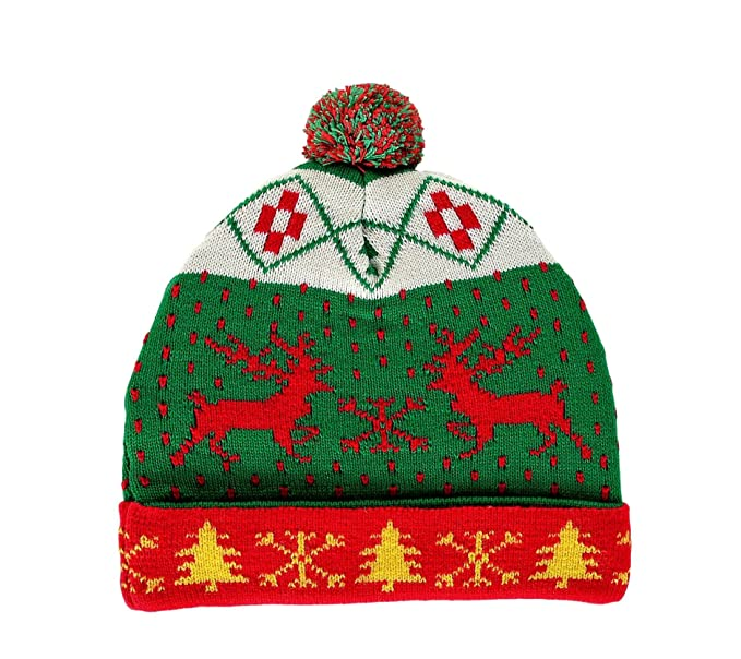 5c05eda32ef0ea Image Unavailable. Image not available for. Color: RWB Reindeer Ugly  Christmas Beanie with Pom-pom One Size Hat Green