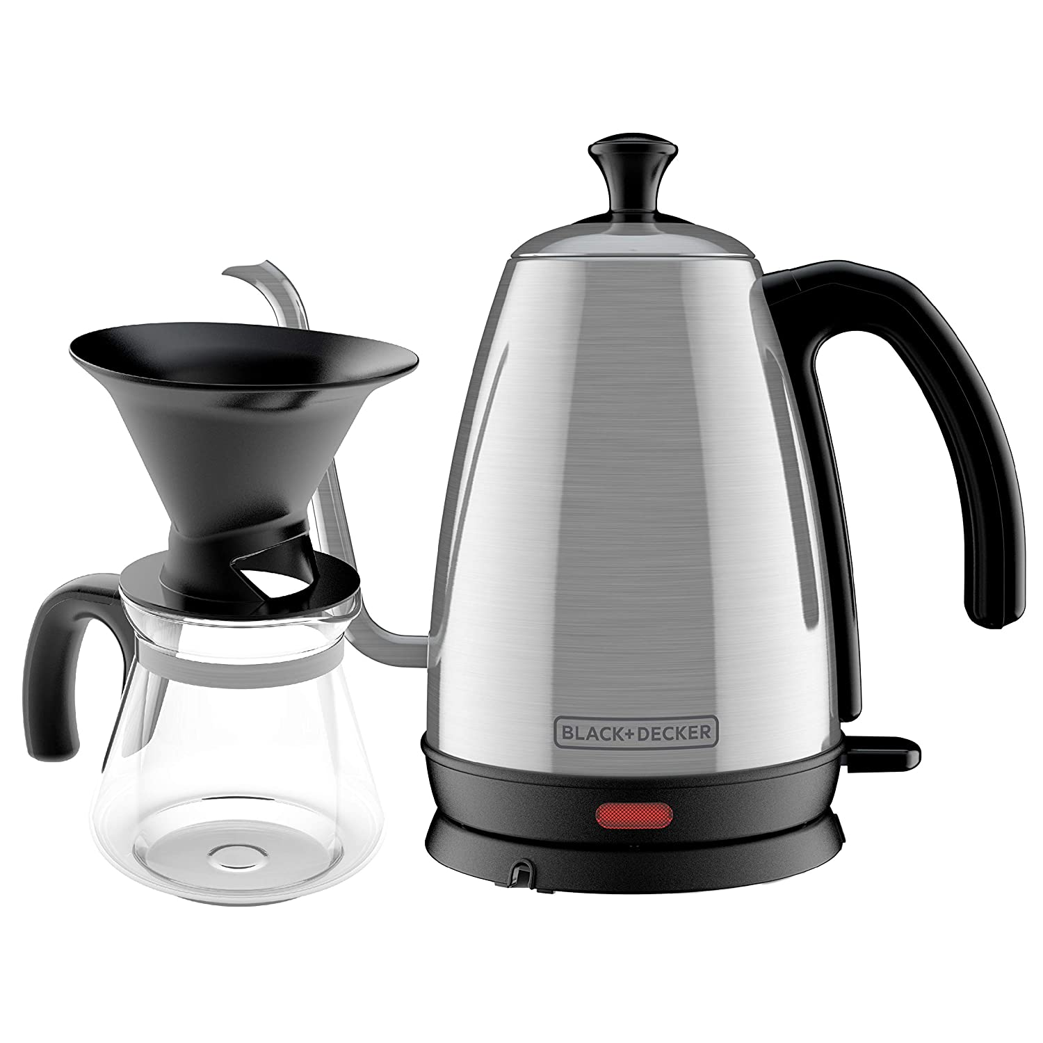 BLACK+DECKER KE3000S-KIT Gooseneck Kettle, 4 Piece Pour Over Coffee Kit, 1 L, Stainless Steel