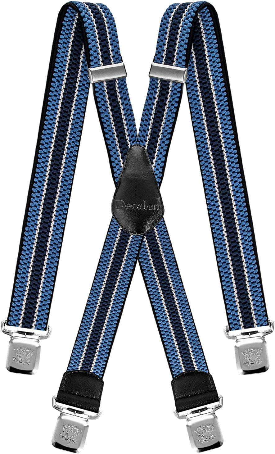 Decalen Mens Suspenders Very Strong Clips Heavy Duty Braces Big and Tall X Style Black Grey White