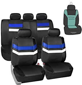 FH Group PU006115 Varsity Spirit PU Leather Seat Covers (Blue) Full Set with Gift - Universal Fit for Trucks, SUVs, and Vans