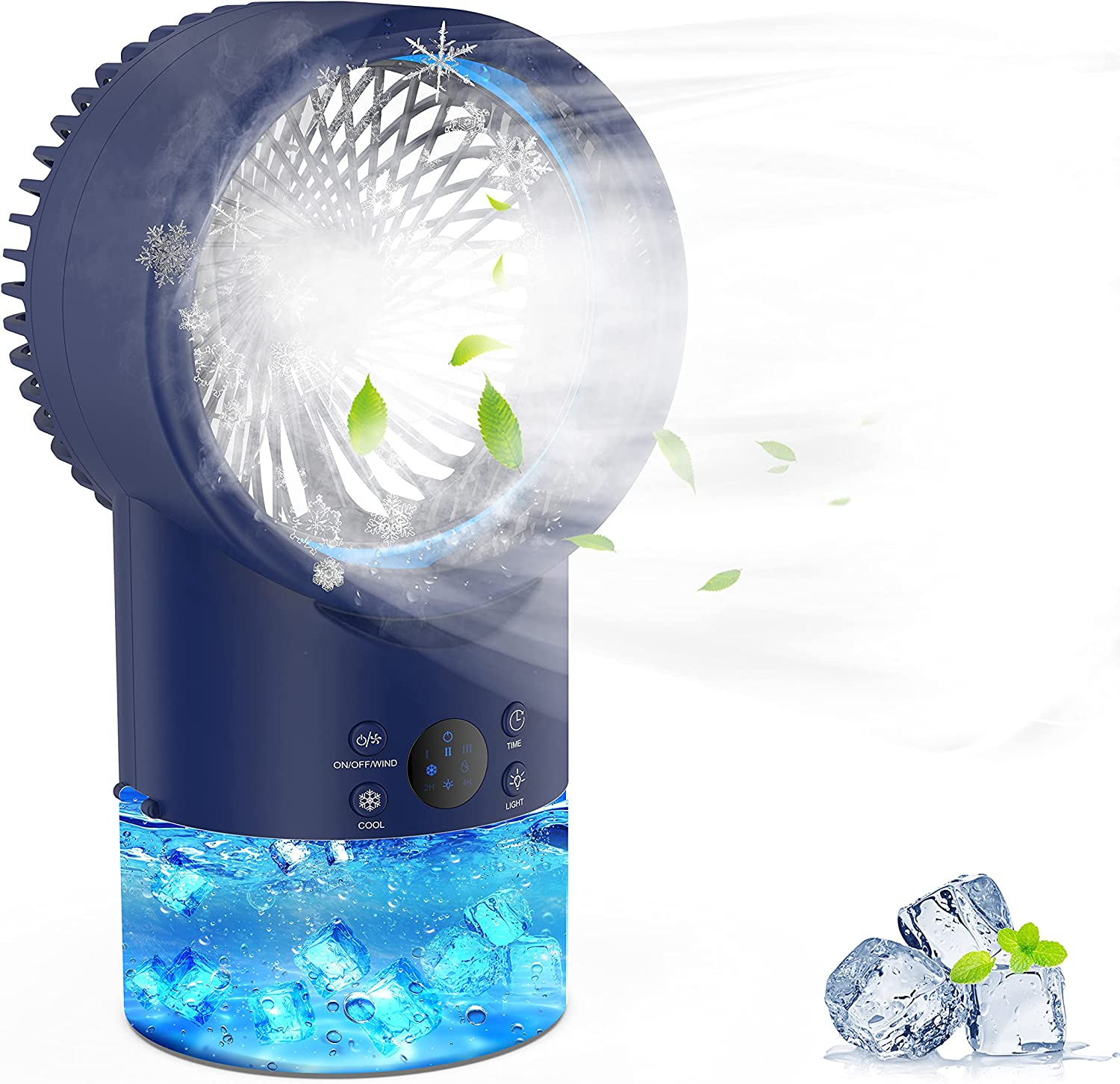 EEIEER Air Conditioner Fan Personal Evaporative Cooler Circulator 3 Speeds 2/4H Timer 7 Colors LED Light 2 Misting Modes Humidifier Quiet Mist Cooling Desk Fan for Home Office Room