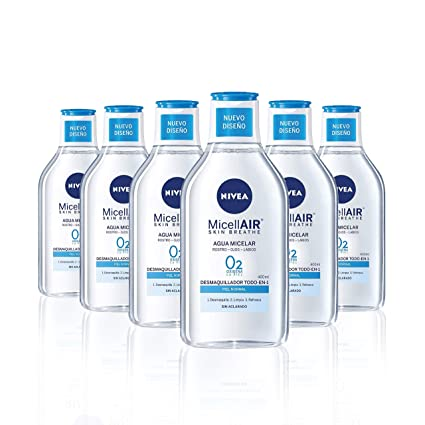 NIVEA MicellAIR Skin Breathe Agua Micelar Piel Normal, agua micelar desmaquillante para limpieza facial,