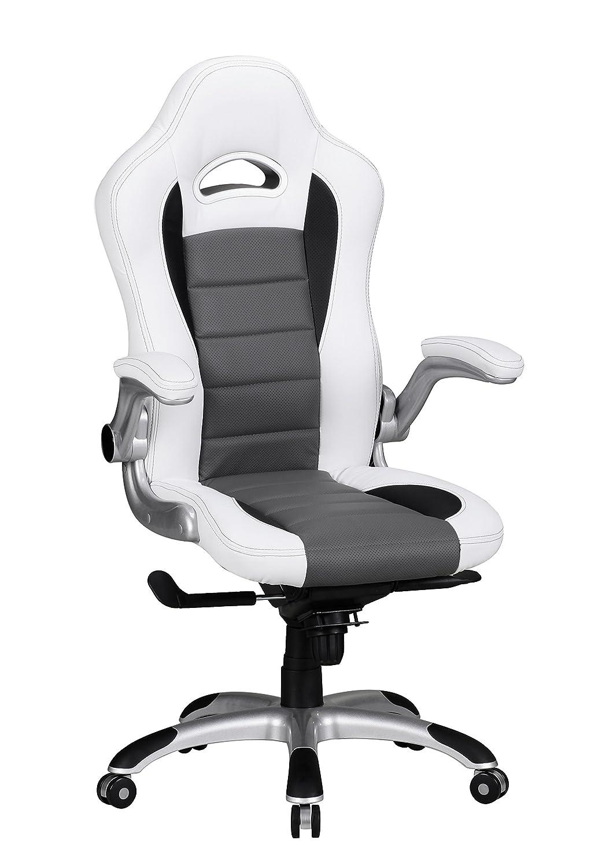 AMSTYLE Bürostuhl RACING Bezug Kunstleder Weiß Design Schreibtischstuhl X-XL 120kg Chefsessel höhenverstellbar Drehstuhl ergonomisch mit Armlehnen Racer hohe Rücken-Lehne Wippfunktion Race hoch ergo